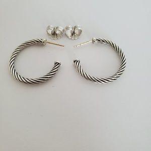 David Yurman Small Classic Cable Hoop Earrings